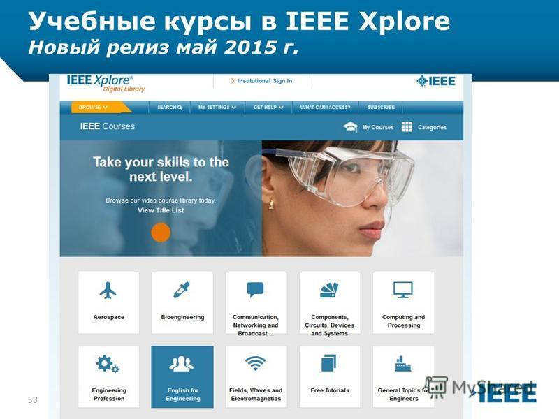 12-CRS-0106 12/12 Учебные курсы в IEEE Xplore Новый релиз май 2015 г. 10/9/201533