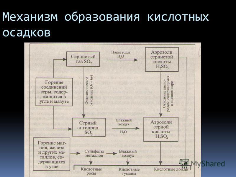 Механизм образования кислотных осадков