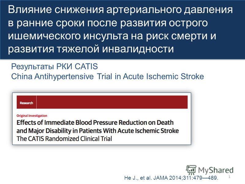 1 Влияние снижения артериального давления в ранние сроки после развития острого ишемического инсульта на риск смерти и развития тяжелой инвалидности Влияние снижения артериального давления в ранние сроки после развития острого ишемического инсульта н