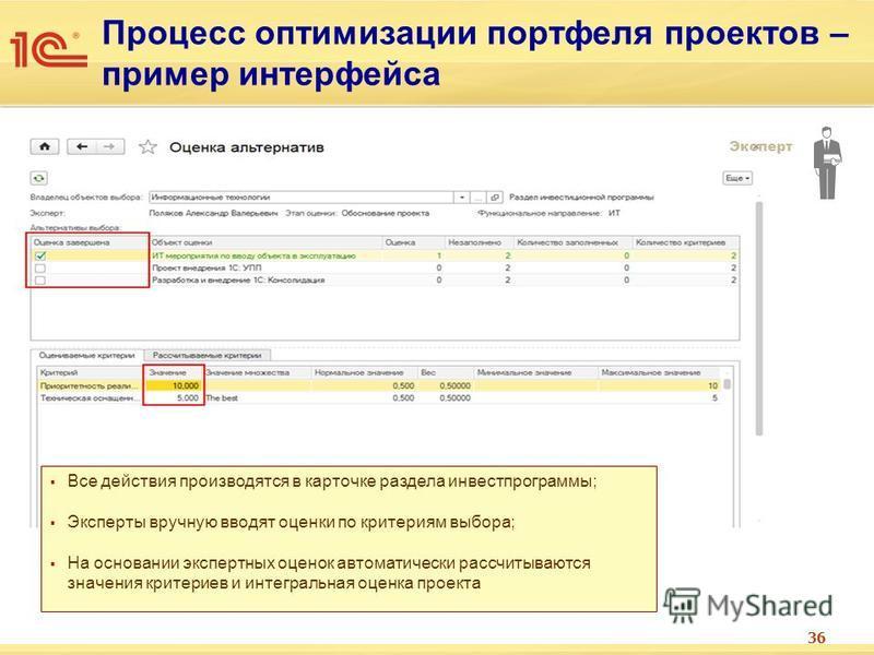 36 Процесс оптимизации портфеля проектов – пример интерфейса Эксперт Все действия производятся в карточке раздела инвестпрограммы; Эксперты вручную вводят оценки по критериям выбора; На основании экспертных оценок автоматически рассчитываются значени