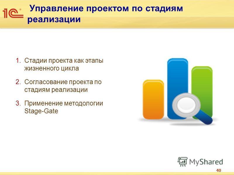 Управление проектом по стадиям реализации 40 1. Стадии проекта как этапы жизненного цикла 2. Согласование проекта по стадиям реализации 3. Применение методологии Stage-Gate