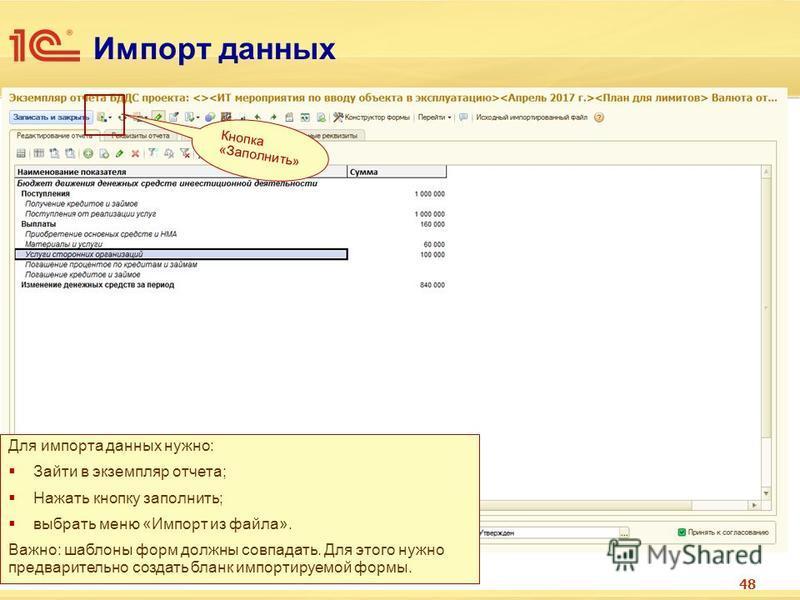Импорт данных 48 Для импорта данных нужно: Зайти в экземпляр отчета; Нажать кнопку заполнить; выбрать меню «Импорт из файла». Важно: шаблоны форм должны совпадать. Для этого нужно предварительно создать бланк импортируемой формы. Кнопка «Заполнить»