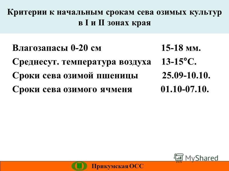 Критерии к начальным срокам сева озимых культур в I и II зонах края Прикумская ОСС Влагозапасы 0-20 см 15-18 мм. Среднесут. температура воздуха 13-15°С. Сроки сева озимой пшеницы 25.09-10.10. Сроки сева озимого ячменя 01.10-07.10.