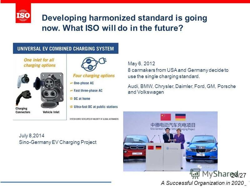 Developing harmonized standard is going now. What ISO will do in the future? July 8,2014 Sino-Germany EV Charging Project May 6, 2012 8 carmakers from USA and Germany decide to use the single charging standard. Audi, BMW, Chrysler, Daimler, Ford, GM,