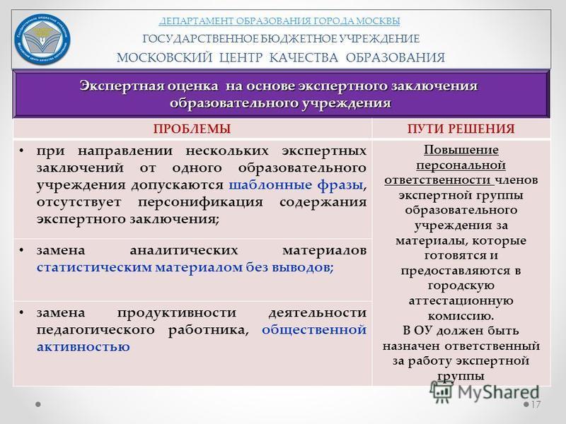 ДЕПАРТАМЕНТ ОБРАЗОВАНИЯ ГОРОДА МОСКВЫ ГОСУДАРСТВЕННОЕ БЮДЖЕТНОЕ УЧРЕЖДЕНИЕ МОСКОВСКИЙ ЦЕНТР КАЧЕСТВА ОБРАЗОВАНИЯ Экспертная оценка на основе экспертного заключения образовательного учреждения ПРОБЛЕМЫПУТИ РЕШЕНИЯ при направлении нескольких экспертных