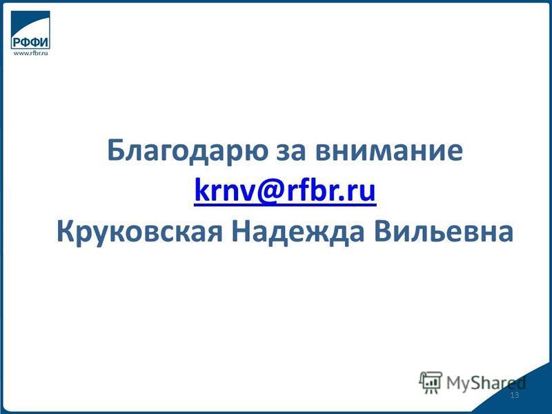 Благодарю за внимание krnv@rfbr.ru Круковская Надежда Вильевна krnv@rfbr.ru 13