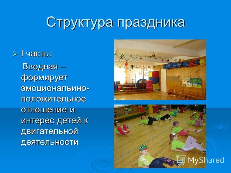 Структура праздника I часть: I часть: Вводная – формирует эмоционально- положительное отношение и интерес детей к двигательной деятельности Вводная – формирует эмоционально- положительное отношение и интерес детей к двигательной деятельности