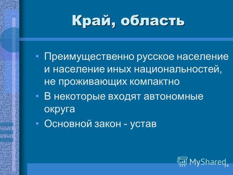 34 Край, область Преимущественно русское население и население иных национальностей, не проживающих компактно В некоторые входят автономные округа Основной закон - устав