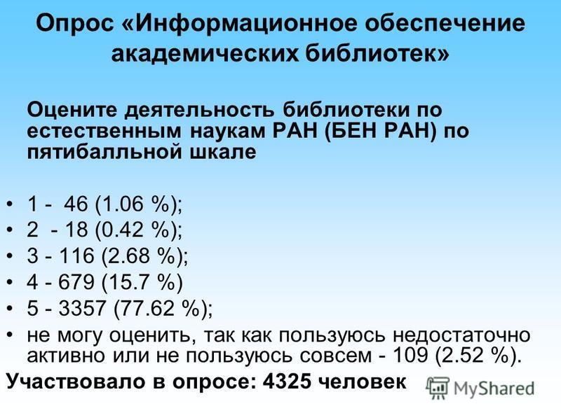 Опрос «Информационное обеспечение академических библиотек» Оцените деятельность библиотеки по естественным наукам РАН (БЕН РАН) по пятибалльной шкале 1 - 46 (1.06 %); 2 - 18 (0.42 %); 3 - 116 (2.68 %); 4 - 679 (15.7 %) 5 - 3357 (77.62 %); не могу оце