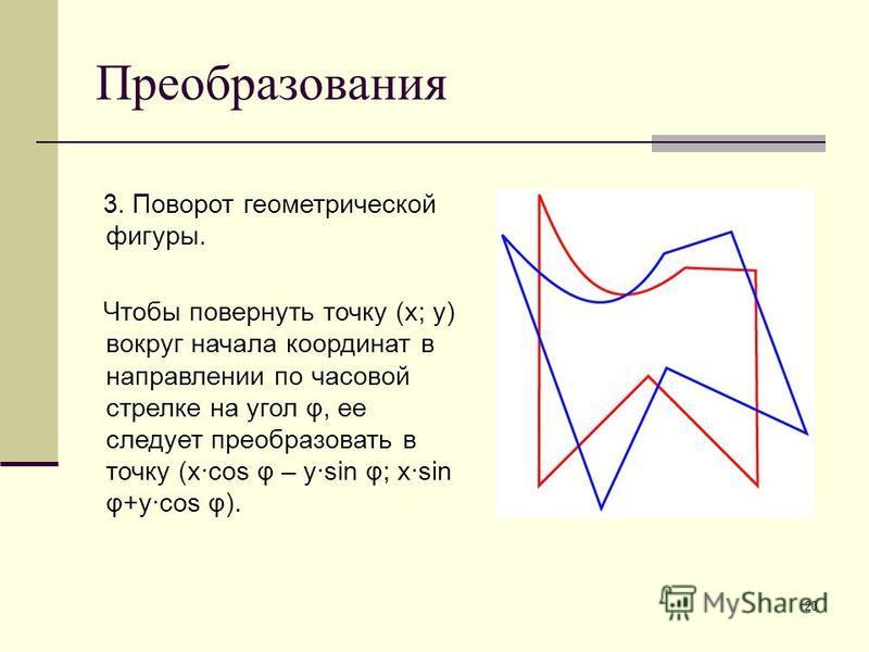 20 Преобразования 3. Поворот геометрической фигуры. Чтобы повернуть точку (x; y) вокруг начала координат в направлении по часовой стрелке на угол φ, ее следует преобразовать в точку (x·cos φ – y·sin φ; x·sin φ+y·cos φ).