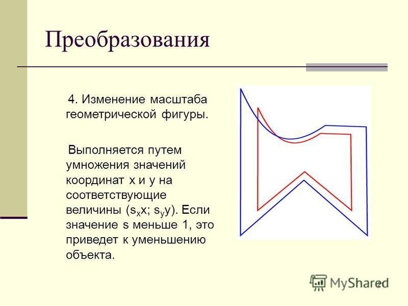 21 Преобразования 4. Изменение масштаба геометрической фигуры. Выполняется путем умножения значений координат x и y на соответствующие величины (s x x; s y y). Если значение s меньше 1, это приведет к уменьшению объекта.