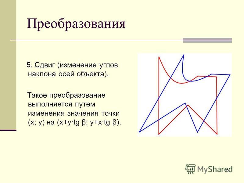 22 Преобразования 5. Сдвиг (изменение углов наклона осей объекта). Такое преобразование выполняется путем изменения значения точки (x; y) на (x+y·tg β; y+x·tg β).