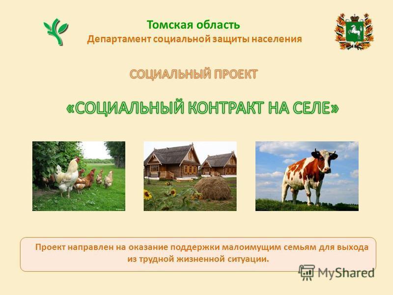 Департамент социальной защиты населения Томская область Проект направлен на оказание поддержки малоимущим семьям для выхода из трудной жизненной ситуации.
