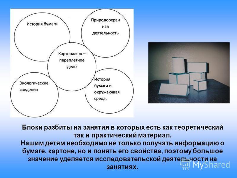 Блоки разбиты на занятия в которых есть как теоретический так и практический материал. Нашим детям необходимо не только получать информацию о бумаге, картоне, но и понять его свойства, поэтому большое значение уделяется исследовательской деятельности