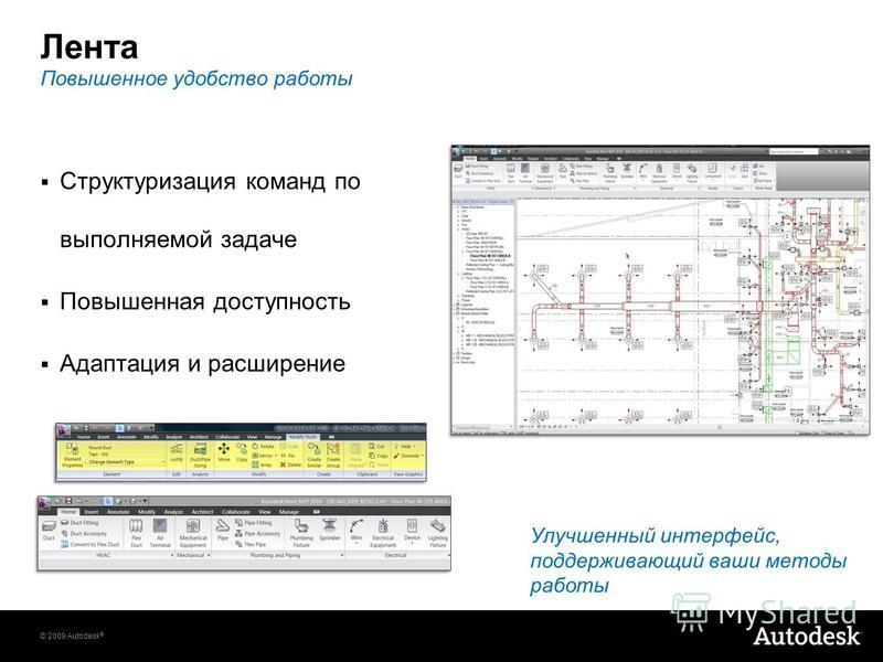 © 2009 Autodesk ® Лента Структуризация команд по выполняемой задаче Повышенная доступность Адаптация и расширение Улучшенный интерфейс, поддерживающий ваши методы работы Повышенное удобство работы