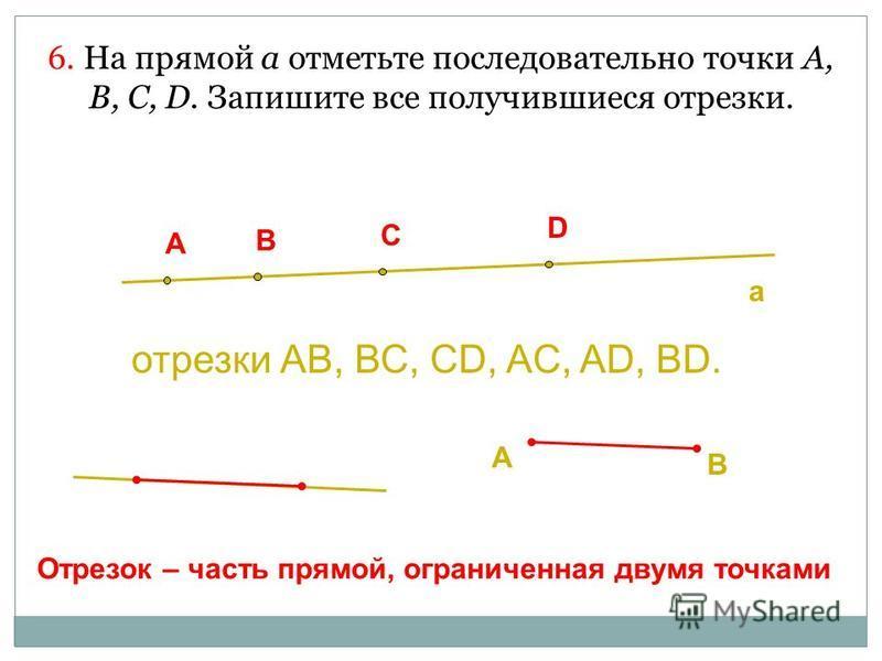 6. На прямой а отметьте последовательно точки А, В, С, D. Запишите все получившиеся отрезки. отрезки АВ, ВС, CD, AC, AD, BD. A B C D a A B Отрезок – часть прямой, ограниченная двумя точками