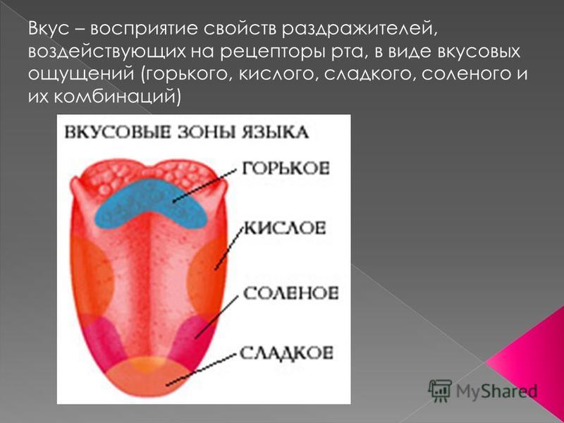 Вкус – восприятие свойств раздражителей, воздействующих на рецепторы рта, в виде вкусовых ощущений (горького, кислого, сладкого, соленого и их комбинаций)