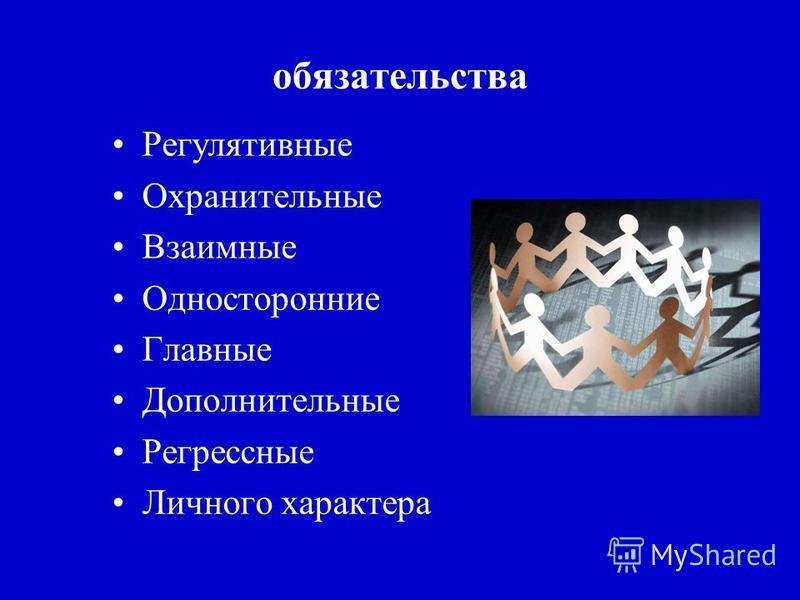 Регулятивные Охранительные Взаимные Односторонние Главные Дополнительные Регрессные Личного характера обязательства