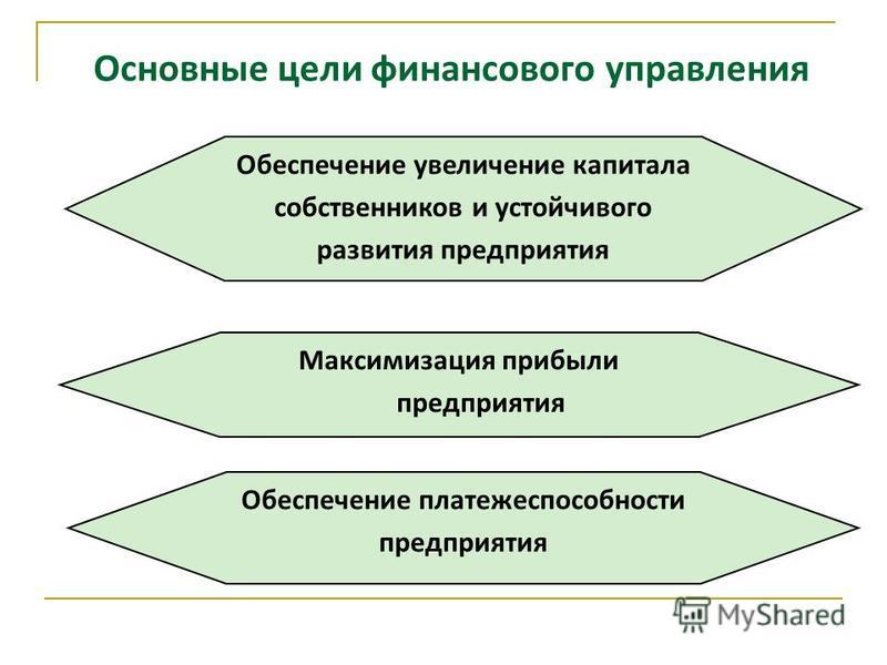 Основные цели финансового управления Максимизация прибыли предприятия Обеспечение платежеспособности предприятия Обеспечение увеличение капитала собственников и устойчивого развития предприятия