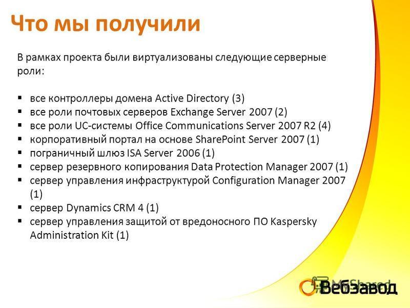 Что мы получили В рамках проекта были виртуализованы следующие серверные роли: все контроллеры домена Active Directory (3) все роли почтовых серверов Exchange Server 2007 (2) все роли UC-системы Office Communications Server 2007 R2 (4) корпоративный