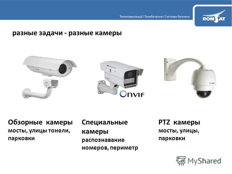 разные задачи - разные камеры Обзорные камеры мосты, улицы тоннели, парковки Специальные камеры распознавание номеров, периметр PTZ камеры мосты, улицы, парковки