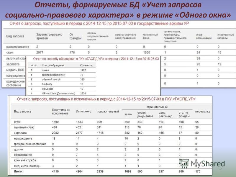12 Отчеты, формируемые БД «Учет запросов социально-правового характера» в режиме «Одного окна»
