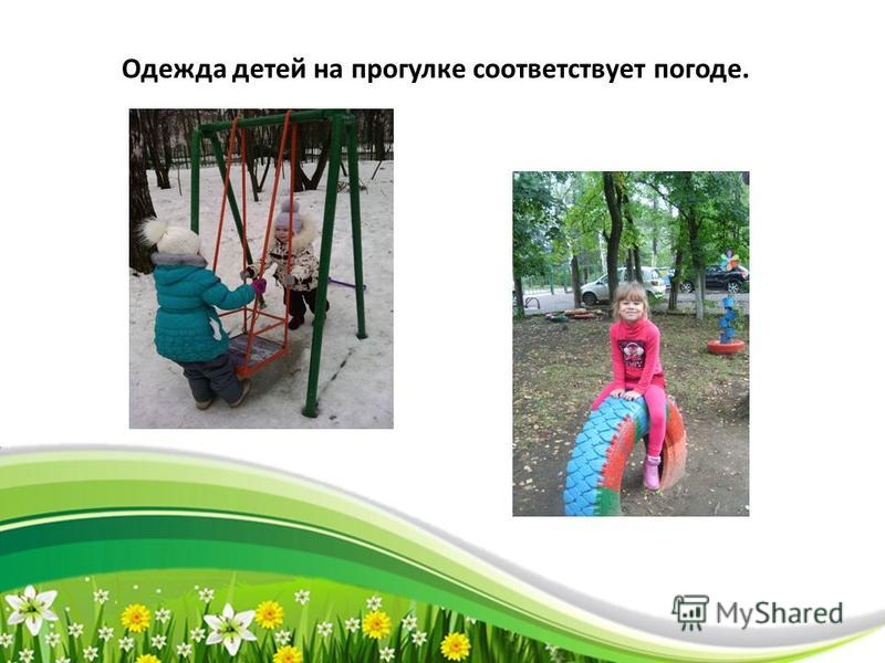 ProPowerPoint.Ru Одежда детей на прогулке соответствует погоде.