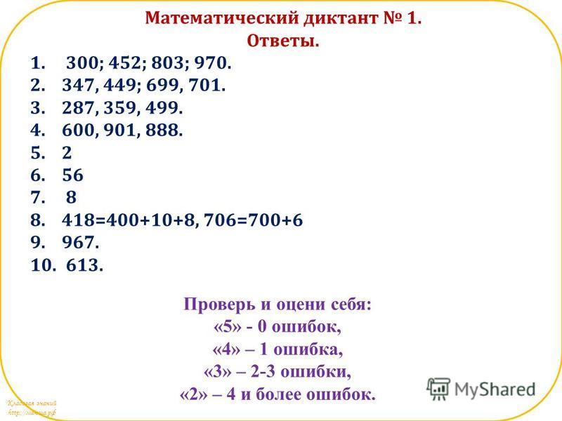 Кладовая знаний http://маюша.рф Математический диктант 1. Ответы. 1. 300; 452; 803; 970. 2.347, 449; 699, 701. 3.287, 359, 499. 4.600, 901, 888. 5.2 6.56 7. 8 8.418=400+10+8, 706=700+6 9.967. 10. 613. Проверь и оцени себя: «5» - 0 ошибок, «4» – 1 оши