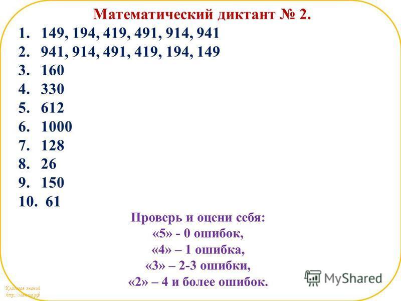 Кладовая знаний http://маюша.рф Математический диктант 2. 1.149, 194, 419, 491, 914, 941 2.941, 914, 491, 419, 194, 149 3.160 4.330 5.612 6.1000 7.128 8.26 9.150 10. 61 Проверь и оцени себя: «5» - 0 ошибок, «4» – 1 ошибка, «3» – 2-3 ошибки, «2» – 4 и