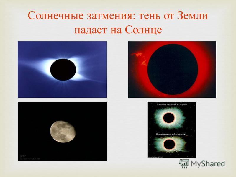 Солнечные затмения : тень от Земли падает на Солнце