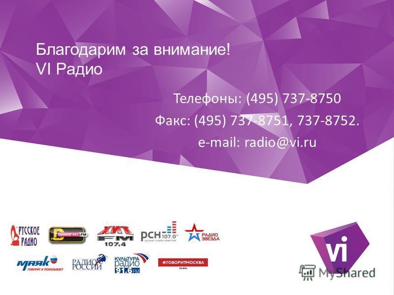Благодарим за внимание! VI Радио Телефоны: (495) 737-8750 Факс: (495) 737-8751, 737-8752. e-mail: radio@vi.ru
