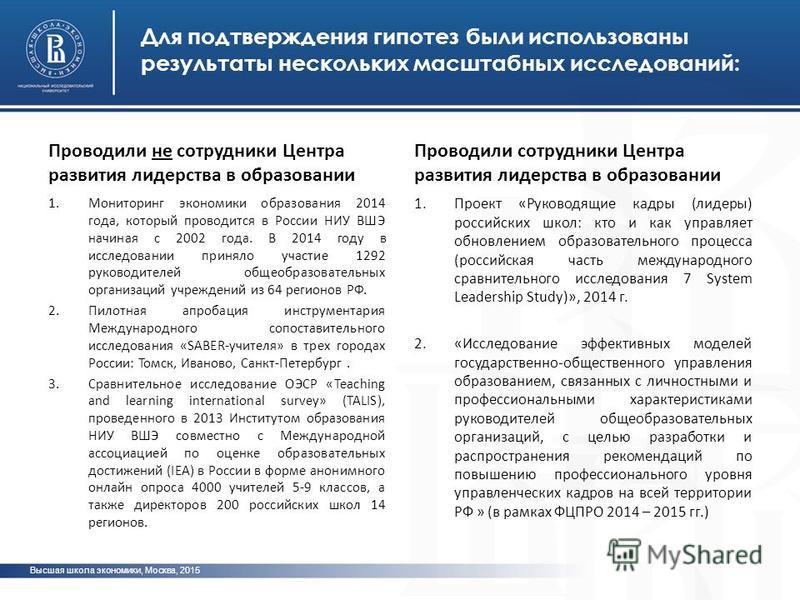 Для подтверждения гипотез были использованы результаты нескольких масштабных исследований: Проводили не сотрудники Центра развития лидерства в образовании 1. Мониторинг экономики образования 2014 года, который проводится в России НИУ ВШЭ начиная с 20