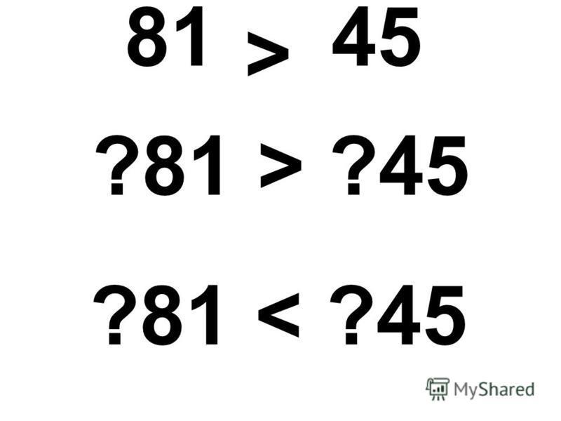 81 45 ?81 > ?45 ?81 < ?45 >