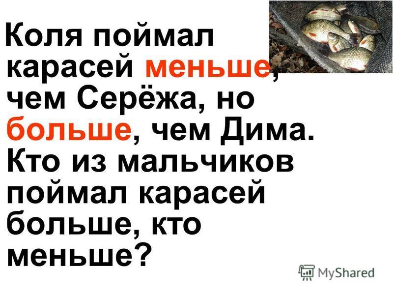 Коля поймал карасей меньше, чем Серёжа, но больше, чем Дима. Кто из мальчиков поймал карасей больше, кто меньше?