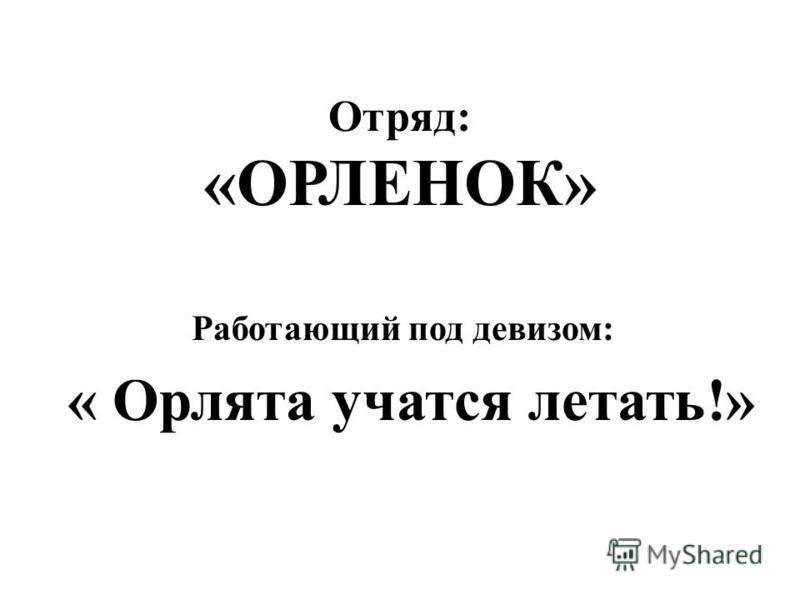 Отряд: «ОРЛЕНОК» Работающий под девизом: « Орлята учатся летать!»