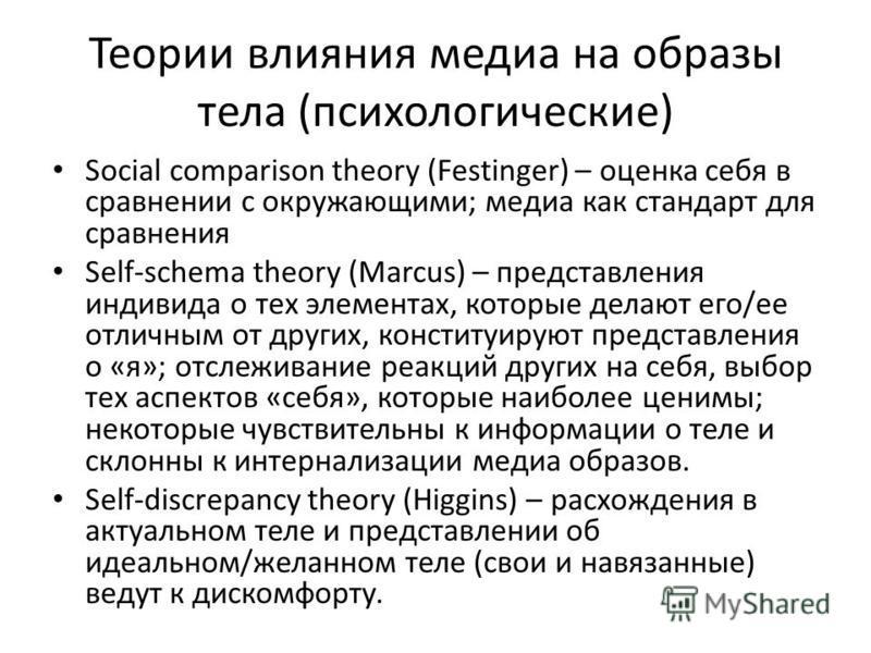 Теории влияния медиа на образы тела (психологические) Social comparison theory (Festinger) – оценка себя в сравнении с окружающими; медиа как стандарт для сравнения Self-schema theory (Marcus) – представления индивида о тех элементах, которые делают