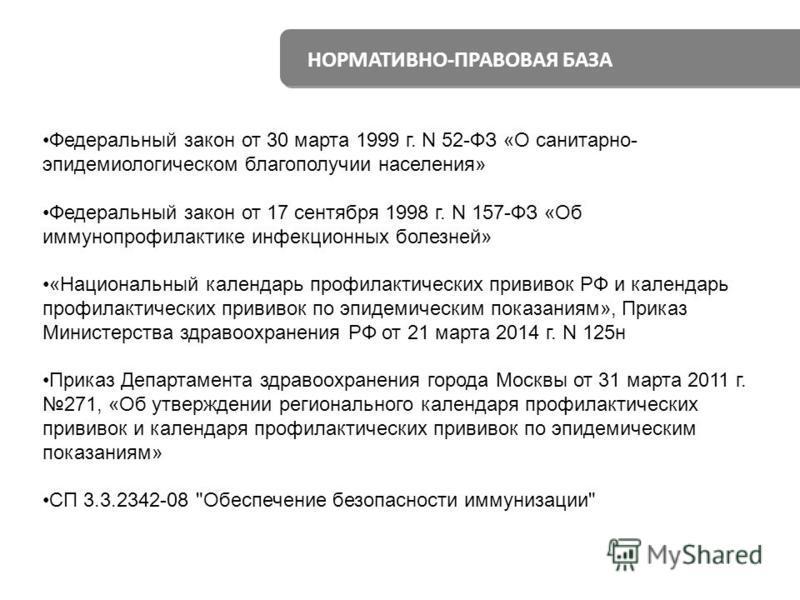 НОРМАТИВНО-ПРАВОВАЯ БАЗА Федеральный закон от 30 марта 1999 г. N 52-ФЗ «О санитарно- эпидемиологическом благополучии населения» Федеральный закон от 17 сентября 1998 г. N 157-ФЗ «Об иммунопрофилактике инфекционных болезней» «Национальный календарь пр