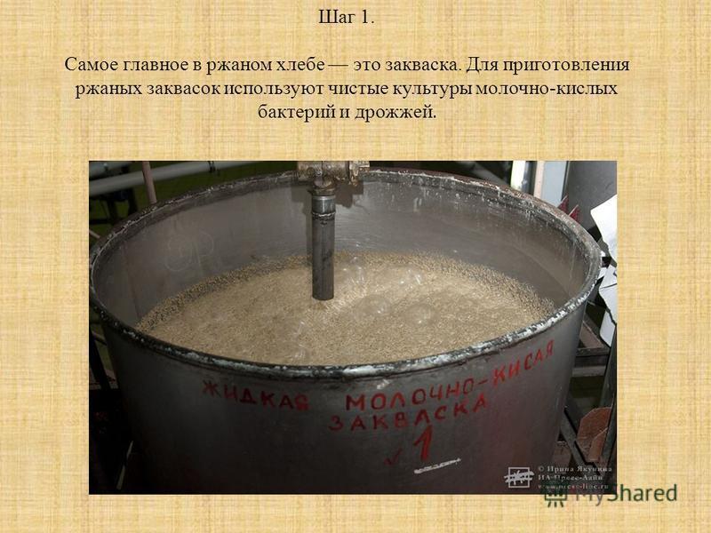 Шаг 1. Самое главное в ржаном хлебе это закваска. Для приготовления ржаных заквасок используют чистые культуры молочно-кислых бактерий и дрожжей.