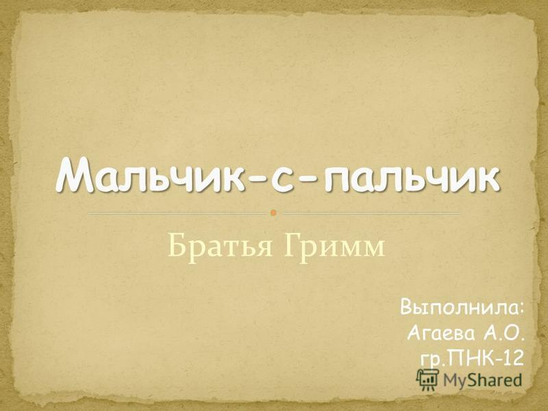 Братья Гримм Выполнила: Агаева А.О. гр.ПНК-12