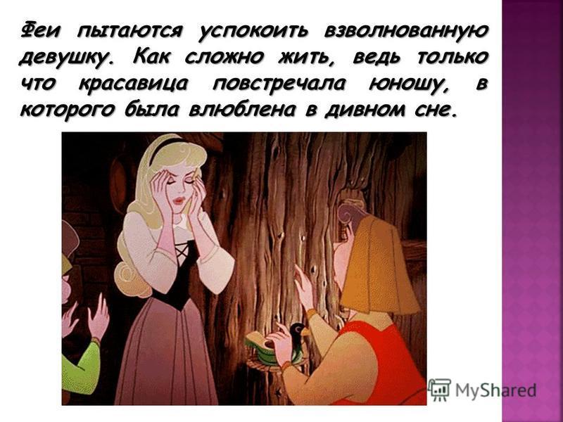 Феи пытаются успокоить взволнованную девушку. Как сложно жить, ведь только что красавица повстречала юношу, в которого была влюблена в дивном сне.