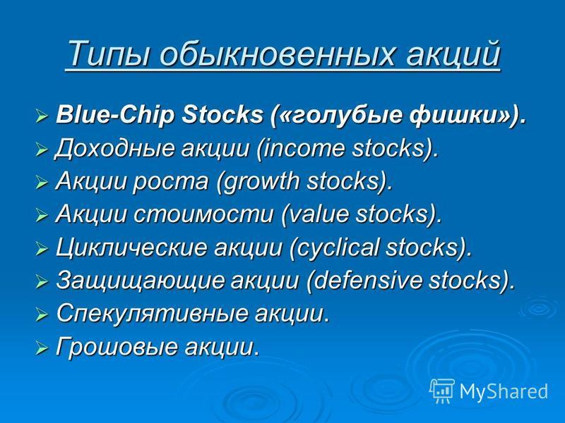Типы обыкновенных акций Blue-Chip Stocks («голубые фишки»). Blue-Chip Stocks («голубые фишки»). Доходные акции (income stocks). Доходные акции (income stocks). Акции роста (growth stocks). Акции роста (growth stocks). Акции стоимости (value stocks).