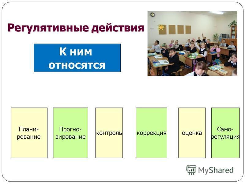 К ним относятся Прогно- зирование контроль Само- регуляция коррекция Регулятивные действия оценка Плани- рование
