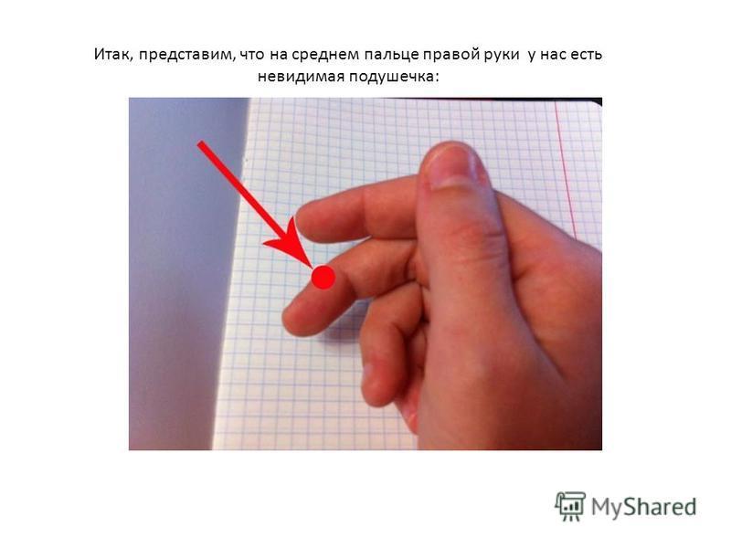 Итак, представим, что на среднем пальце правой руки у нас есть невидимая подушечка: