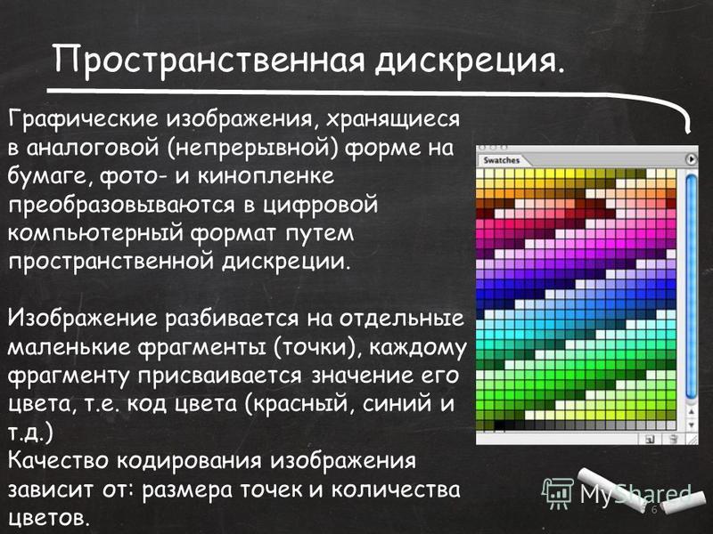 Пространственная дискреция. 6 Графические изображения, хранящиеся в аналоговой (непрерывной) форме на бумаге, фото- и кинопленке преобразовываются в цифровой компьютерный формат путем пространственной дискреции. Изображение разбивается на отдельные м