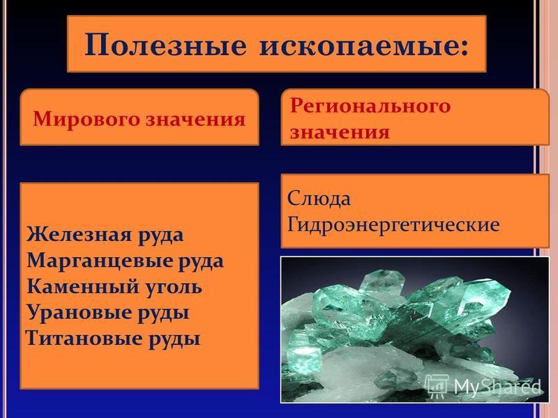 Полезнае ископаемые: Мирового значения Регионального значения Железная руда Марганцевые руда Каменнай уголь Урановые руды Титановые руды Слюда Гидроэнергетические