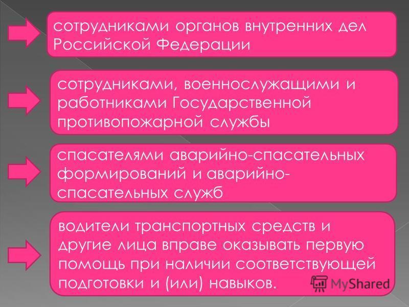 сотрудниками органов внутренних дел Российской Федерации сотрудниками, военнослужащими и работниками Государственной противопожарной службы спасателями аварийно-спасательных формирований и аварийно- спасательных служб водители транспортных средств и