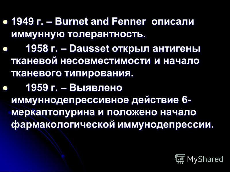 1949 г. – Burnet and Fenner описали иммунную толерантность. 1949 г. – Burnet and Fenner описали иммунную толерантность. 1958 г. – Dausset открыл антигены тканевой несовместимости и начало тканевого типирования. 1958 г. – Dausset открыл антигены ткане