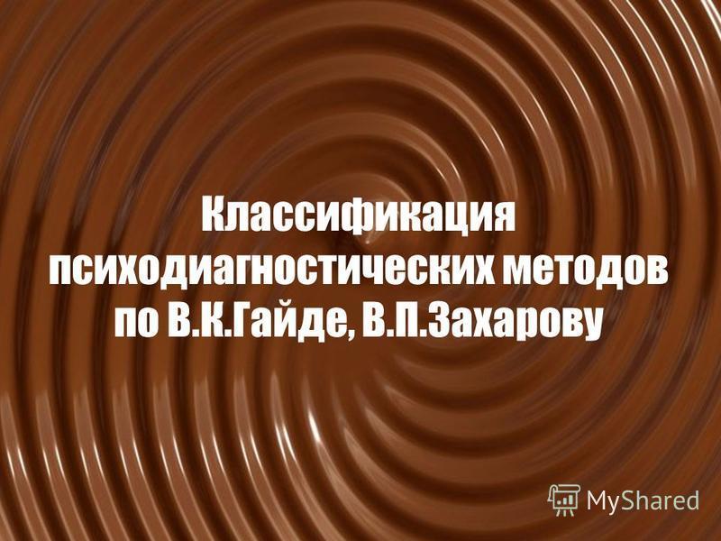 Классификация психодиагностических методов по В.К.Гайде, В.П.Захарову