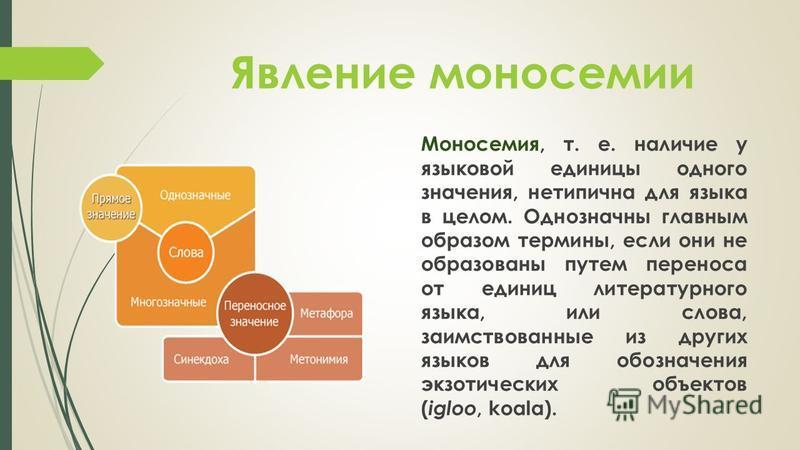 Явление моносомии Моносемия, т. е. наличие у языковой единицы одного значения, нетипична для языка в целом. Однозначны главным образом термины, если они не образованы путем переноса от единиц литературного языка, или слова, заимствованные из других я