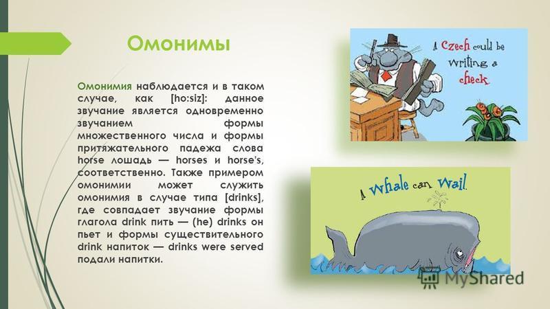 Омонимы Омонимия наблюдается и в таком случае, как [ho:siz]: данное звучание является одновременно звучанием формы множественного числа и формы притяжательного падежа слова horse лошадь horses и horse's, соответственно. Также примером омонимии может